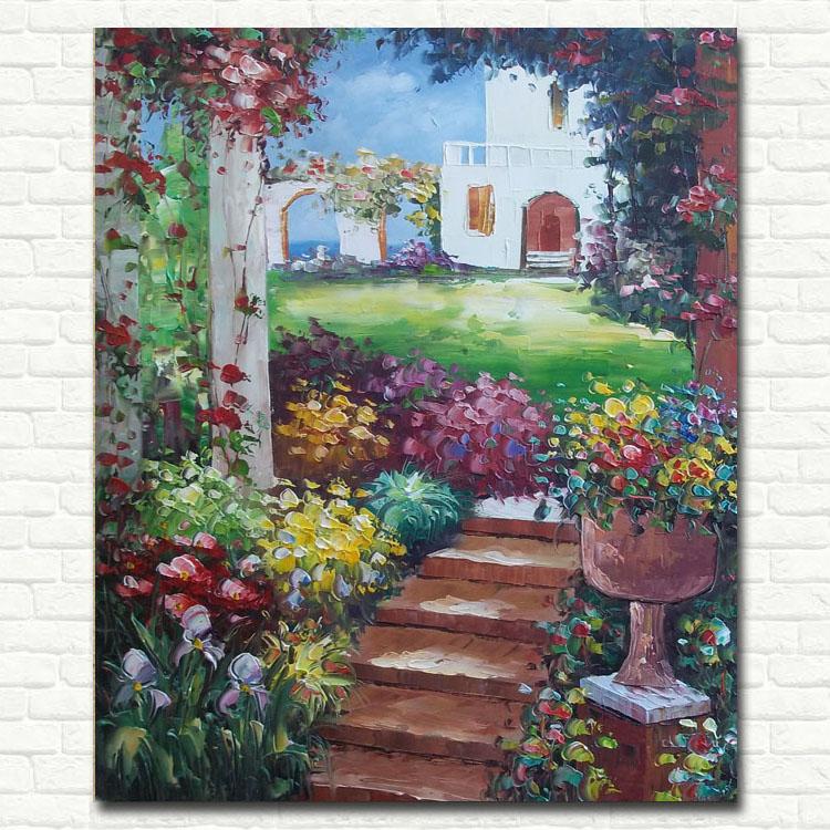花园风景画 家居欧式风格 客厅玄关卧室装饰手绘画竖款