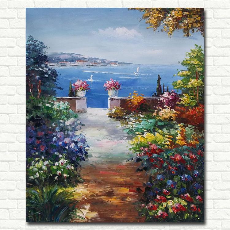 欧式有框竖幅立体油画 纯手绘地中海客厅装饰画 家居
